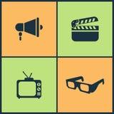 Vektor-Illustrations-gesetzte Kino-Ikonen Elemente von Gläsern des Films 3d, von Film- und Kino-Filmikone Stockfotografie