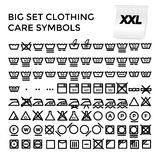 Vektor-Illustrations-gesetzte Kleidungs-Sorgfalt-Symbole Stockbilder