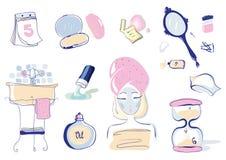 Vektor-Illustrations-Satz von 10 Gesundheits-und Schönheits-Gegenständen Lizenzfreies Stockbild