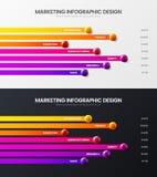 Vektor-Illustrationsbündel der Wahl des Geschäfts 7 infographic Vermarktender Balkendiagramm-Entwurfssatz des Analytics horizon lizenzfreie abbildung