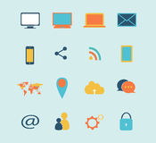 Vektor-Illustrationsblau der Digital-Gerätikone gesetztes Lizenzfreies Stockfoto