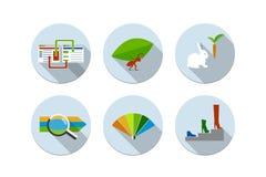Vektor-Illustrationsikonen des flachen Designs moderne eingestellt Lizenzfreie Stockfotos