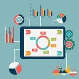 Vektor-Illustrationsikonen des flachen Designs stellten moderne von der Optimierung der Website SEO, von Programmierungsprozeß un Stockfoto
