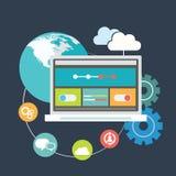 Vektor-Illustrationsikonen des flachen Designs stellten moderne von der Optimierung der Website SEO, von Programmierungsprozeß un Stockfotos