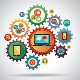 Vektor-Illustrationskonzept des flachen Designs modernes des Social Media Stockbilder