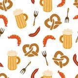 Vektor-Illustrationsmuster der Oktoberfest-Brezelbierwurstgabel nahtloses Blauer und weißer karierter Hintergrund Vervollkommnen  stock abbildung