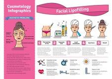 Vektor illustrerad uppsättning med ansikts- lipofilling för cosmetology vektor illustrationer