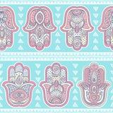 Vektor indische Hand gezeichnetes hamsa nahtloses Muster Lizenzfreie Stockfotografie