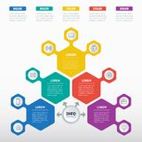 Vektor infographic vom Technologie- oder Bildungsprozeß Geschäft Lizenzfreie Stockfotos