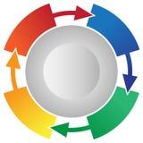 Vektor Information-Grafik mit 4 Schritt-Prozessfluss-einkreisender Pfeilen Lizenzfreies Stockfoto