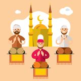 Vektor Islam Islamische Gebete Flache Art bunte Karikatur stock abbildung