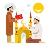 Vektor Islam Islamische Gebete Flache Art bunte Karikaturillustration vektor abbildung
