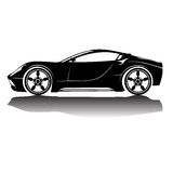 Vektor isolerad bilkonturbild svart silhouette skjuten studio för bil reflexion Fotografering för Bildbyråer