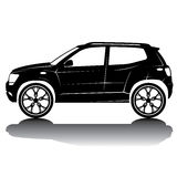 Vektor isolerad bilkonturbild svart silhouette skjuten studio för bil reflexion Royaltyfria Bilder