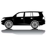 Vektor isolerad bilkonturbild svart silhouette skjuten studio för bil reflexion Royaltyfri Bild