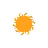 Vektor isolerad mall för sollogodesign Abstrakt begrepp pricker symbol Rund ovanlig form Arkivfoton