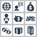 Vektor isolerad pengarsymbolsuppsättning Arkivfoto