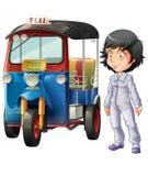 Vektor isolerad thailändsk chaufför- och motortrehjuling royaltyfri illustrationer