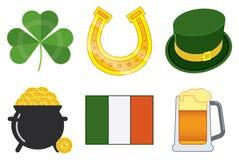 Vektor isolerade symboler i en stillägenhet till dagen för St Patrick ` s stock illustrationer