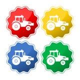 Vektor isolerade traktorsymboler royaltyfri illustrationer