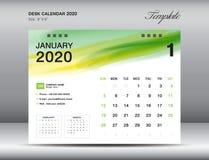 Vektor 2020, JANUARI 2020 månad för mall för skrivbordkalender med den gröna vattenfärgborsteslaglängden, affärsorienterin stock illustrationer