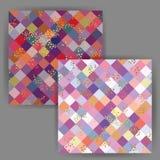 Vektor-japanische Art-Quadrat-nahtloses Muster mit Goldfolien-Stempel-Effekt Stockfotos