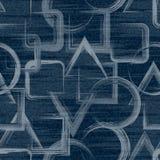 Vektor-Jeanshintergrund mit Blumen Nahtloses Muster des Denims Blue Jeansgewebe Blumengrunge Hintergrund vektor abbildung