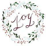 Vektor Joy Christmas Wreath Fotografering för Bildbyråer
