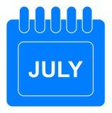 Vektor juli på månatlig kalenderblåttsymbol royaltyfri illustrationer
