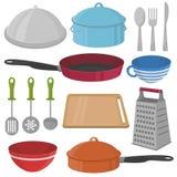 Vektor-Küchengeschirr und Kochen des Ausrüstungsikonensatzes Lizenzfreies Stockbild