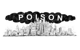 Vektor-künstlerische zeichnende Illustration der Stadt abgedeckt durch giftigen Rauch und Luftverschmutzung stock abbildung