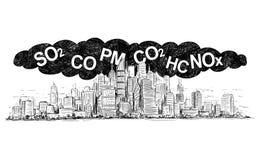 Vektor-künstlerische zeichnende Illustration der Stadt abgedeckt durch Rauch und Luftverschmutzung vektor abbildung