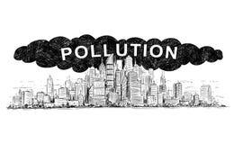 Vektor-künstlerische zeichnende Illustration der Stadt abgedeckt durch Rauch und Luftverschmutzung lizenzfreie abbildung