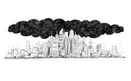 Vektor-künstlerische zeichnende Illustration der Stadt abgedeckt durch Rauch und Luftverschmutzung stock abbildung