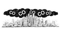 Vektor-künstlerische zeichnende Illustration der Stadt abgedeckt durch Smog-und CO2 Luftverschmutzung lizenzfreie abbildung