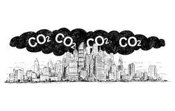 Vektor-künstlerische zeichnende Illustration der Stadt abgedeckt durch Smog-und CO2 Luftverschmutzung stock abbildung