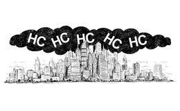 Vektor-künstlerische zeichnende Illustration der Stadt abgedeckt durch Smog und HC oder Kohlenwasserstoff-Luftverschmutzung lizenzfreie abbildung