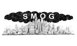 Vektor-künstlerische zeichnende Illustration der Stadt abgedeckt durch Smog und Luftverschmutzung stock abbildung