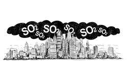 Vektor-künstlerische zeichnende Illustration der Stadt abgedeckt durch Smog-und SO2 Luftverschmutzung stock abbildung