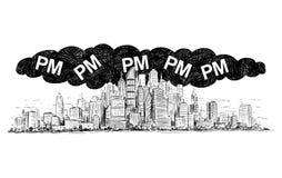 Vektor-künstlerische zeichnende Illustration der Stadt abgedeckt durch Smog-und P.M.- oder Feinstaub-Luftverschmutzung stock abbildung