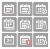 Vektor-Kalender-Ikonen: Ereignis addieren Löschungsfortschritt Stockfotografie