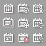 Vektor-Kalender-Ikonenereignis addieren Löschungsfortschritt Lizenzfreie Stockbilder
