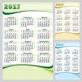 Vektor-Kalender 2017 - Satz Stockfoto