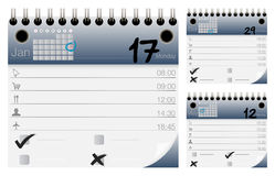 Vektor-Kalender und Organisator Icons Set Lizenzfreies Stockbild