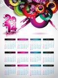 Vektor-Kalenderillustration 2014. Lizenzfreies Stockfoto