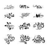 Vektor-kalligraphische Blumenmuster-Elemente Lizenzfreie Stockfotografie