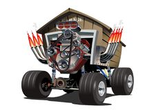 Vektor-Karikatur-Garagen-LKW lizenzfreie abbildung