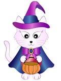 Vektor-Karikatur-Halloween-Hexen-Katze vektor abbildung
