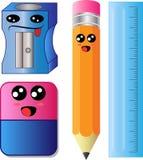 Vektor-Karikaturbleistiftspitzer-, -bleistift-, -radiergummi- und -machthaberskala lizenzfreie abbildung