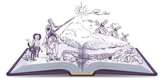 Vektor-Karikaturillustration Don Quixote-offenen Buches lizenzfreie abbildung